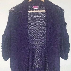 Say What? Women Open Front Cardigan Purple